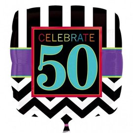 "Foil Balloon - Celebrate 50 Chevron - 18"""