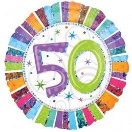 "Foil Balloon - 50 Radiant Birthday - 18"""