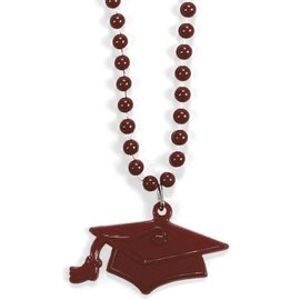 Bead Necklace-Burgundy Graduation Hat-33''-4pk (Seasonal)