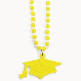 Bead Necklace-Yellow Graduation Hat-33''-4pk (Seasonal)