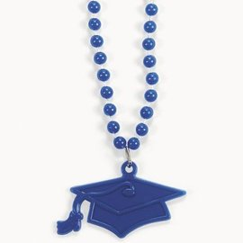 Bead Necklace-Blue Graduation Hat-33''-4pk (Seasonal)