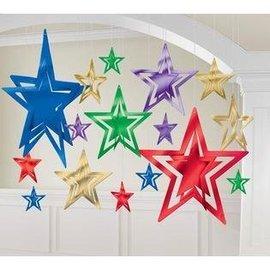 """Decorating Kit-Foil-Assorted Stars-16pcs-3.75""""-12"""""""