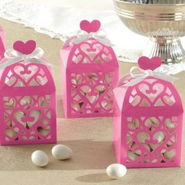 "Favor Boxes-Hot Pink Hearts-50pkg-2.5""x2.5""x2.5"""