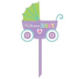 "Yard Sign-Plastic-Welcome Baby Carriage-1pkg-14""x15"""