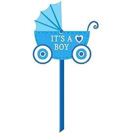 "Yard Sign-Plastic-It's a Boy Blue Carriage-1pkg-14""x15"""