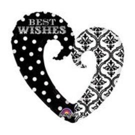 "Foil Balloon-Super Shape Heart Best Wishes 32"""