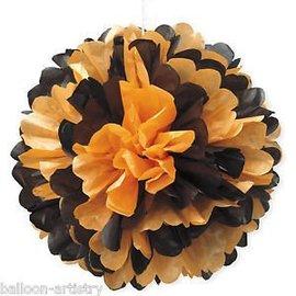 Puff Ball-Black and Orange-14''
