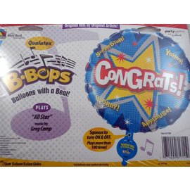 "B-Bops Congrats Balloon - Plays ""All Star"" music by Greg Camp (31"")"