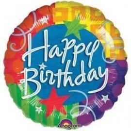 Foil Balloon-Happy Birthday Stars & Sparkles-18''