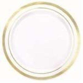 Plates-BEV-White-W/ Gold Trim-Plastic-20pk