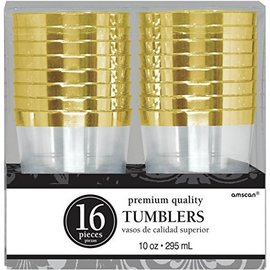 Tumbler-Premium-Gold Trim-Plastic-10oz/16pk - Discounted - Discontinued