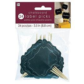 "Black Chalkboard Label Picks- 24pk/3.5"""