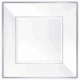 Plates-Square-DN-White-W/Silver Trim-Plastic-8pk
