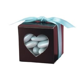 Favor Boxes- Brown with Heart Window- 25pk
