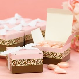 Favor Boxes- Pink & Brown Flowers- 25pk