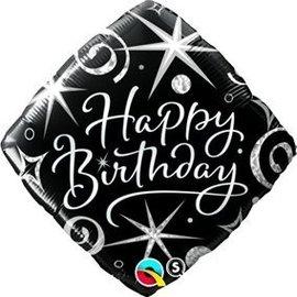 "Foil Balloon - Elegant Happy Birthday - 18"""