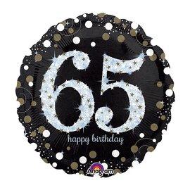 "Foil Balloon - 65th Birthday Sparkle - 18"""