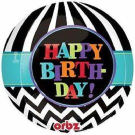 "Foil Balloon Orbz - Happy Birthday Chevron - 15""x16"""