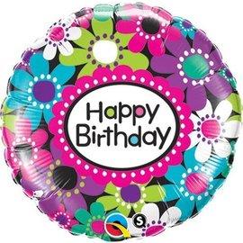 "Foil Balloon - Happy Birthday Daisies - 18"""