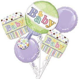 Foil Balloon Bouquet - Baby Shower Duckie - 5 Balloons - 2.6ft