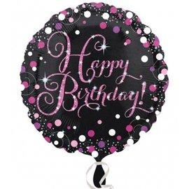 "Foil Balloon - Pink Happy Birthday Sparkle - 18"""
