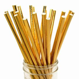 Paper Straws-Metallic Gold-10pk