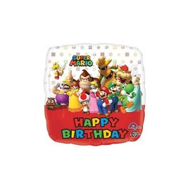 Foil Balloon - Super Mario Happy Birthday 17""