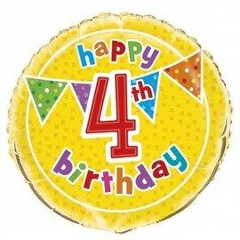 Foil Balloon - Happy 4th Birthday - 18''