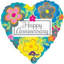 "Foil Balloon - Happy Anniversary Heart 17"""