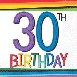 Napkins - BEV - Rainbow 30th Birthday - 16pk (2PLY)