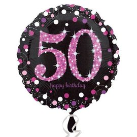 Foil Balloon - Pink 50th Birthday Sparkle - 18""