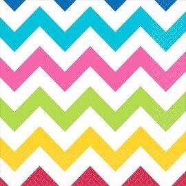Napkins-BEV-Rainbow Colours Chevron-16pk-2ply