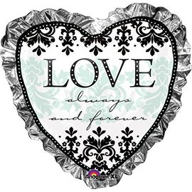 "Foil Balloon - Love Always and Forever Heart - 28""x28"""