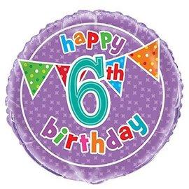 Foil Balloon - Happy 6th Birthday - 18''