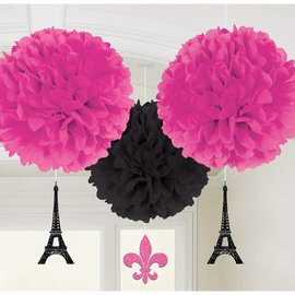 Fluffy Paris Decorations - 3 Pcs (16 inches in diameter)