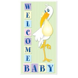Door Cover-Plastic-Welcome Baby Stork-1pkg-5ft