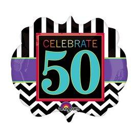 "Foil Balloon - Celebrate 50 Chevron - 25""x22"""