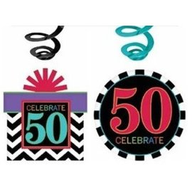 Swirl Decorations - 50th Birthday-Blue