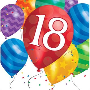 18 Birthday Balloon Napkins 16 - 2ply - Discontinued