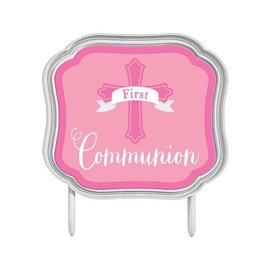 Cake Topper - First Communion (Pink)-4.5''x5.1''