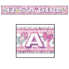 Fringe Banner-Metallic-It's a Girl-1pkg-5ft