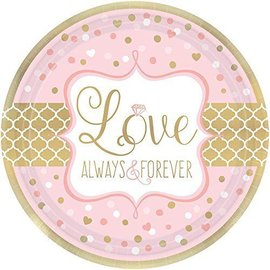Plates-Bev-Sparkling Wedding-8pk-Paper (Discontinued)