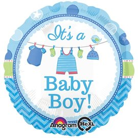 "Foil Balloon - It's a Baby Boy Clothesline - 18"""