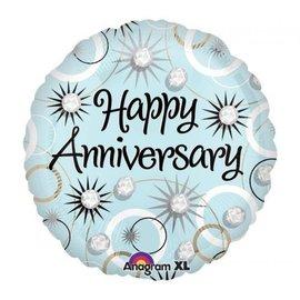 "Foil Balloon - Happy Anniversary Diamonds - 18"""