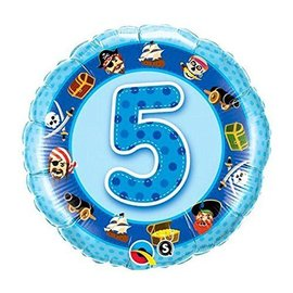 Foil Balloon - 5th Birthday Pirate - 18""