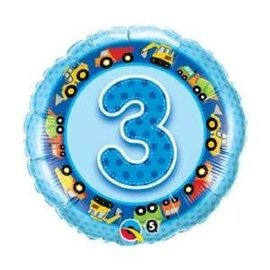 """Foil Balloon - 3rd Birthday Trucks and Diggers - 18"""""""