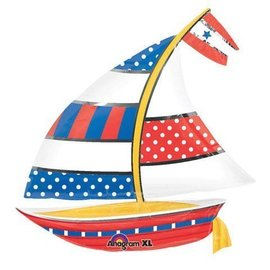 "Foil Balloon - Nautical Sailboat - 30""x28"""
