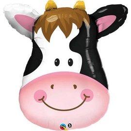 "Foil Balloon - Smiling Cow Face - 32"""