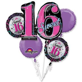 Foil Balloon Bouquet - Sweet 16 - 5 Balloons