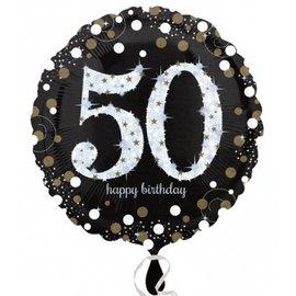 "Foil Balloon - 50th Birthday Sparkle - 18"""